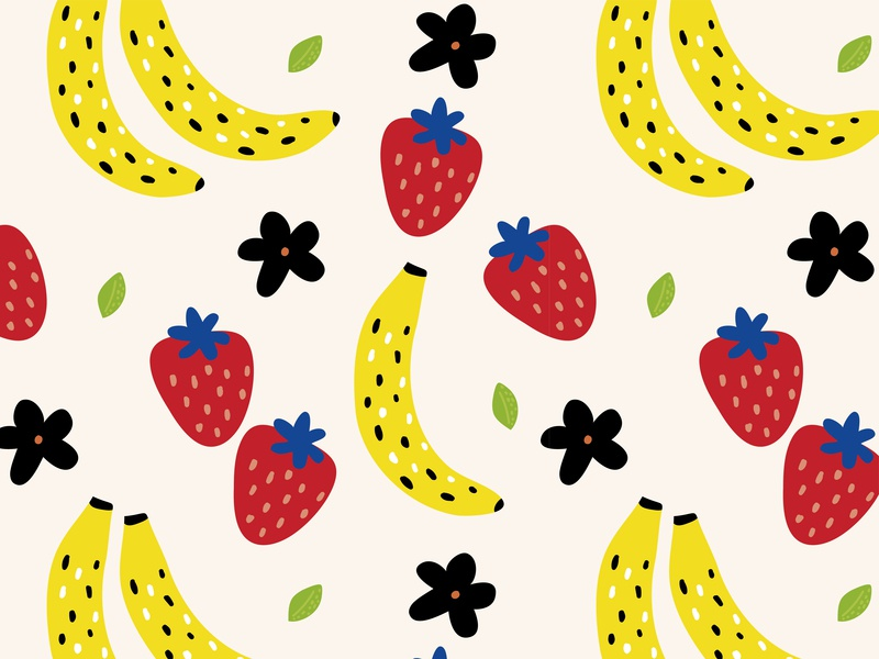 Strawberries & Bananas seamless patterns food fruity ilustration handdrawn background backdrop banner summer bananas fabric wrapping paper wallpaper repetition pattern design fruit seamless pattern banana strawberries strawberry