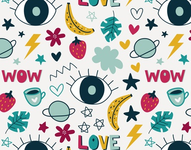 Cute doodle pattern vector teen girly girl leave stars hearts wallpaper paper wrapping paper handdrawn wow love backdrop banner background banana cloud eyes