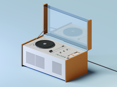 Voxel Tech: Braun SK55 Record Player/Radio Phonosuper voxelart tech retro record player radio magicavoxel isometric art braun