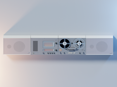 Voxel Tech: Braun TG60 reel to reel... voxelart tech retro reel to reel tape recorder radio magicavoxel isometric art braun