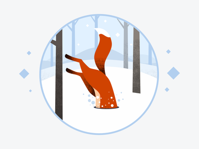 Snow-diving Fox jump snow fox illustration