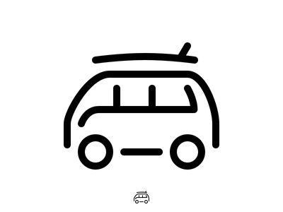 Icon VW Surf Van Monoline volkswagen camper surfboard surf van vw tab bar tiny icons icons