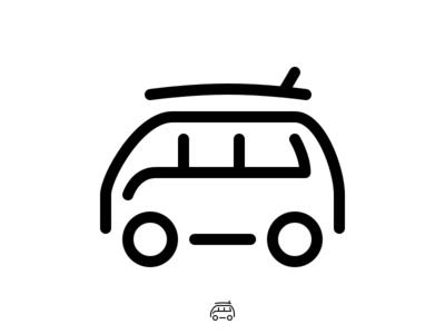 Icon VW Surf Van Monoline volkswagen camper surfboard surf van vw tab bar tiny icons icons