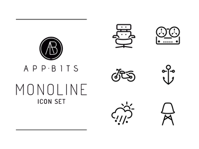 MONOLINE Icons icon set pack set line icons icon
