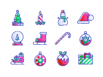 APP-BITS Bright Christmas Icons christmas hat candy cane presents gifts snowglobe candle christmas tree decorations holidays christmas