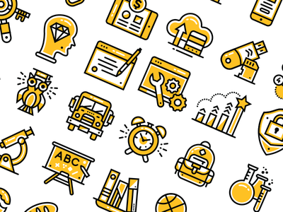 Yellow icons learning iconography icon graphic design digital badgers icons