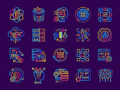 Data Science gradient icons algorithm artificial intelligence information blockchain machine learning data science icon technology line stroke outline gradient