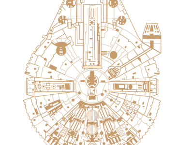 MILLENNIUM FALCON fanart millenium falcon starwars icon layout illustrator design