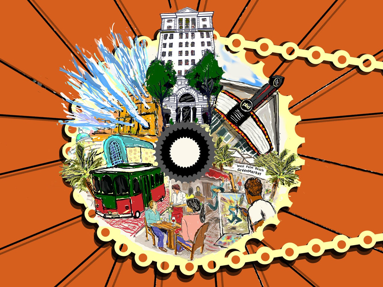 Skybike Poster detail west palm beach detail artwork illustration