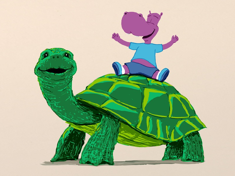 Jonathan The Tortoise tortoise character design hippopotamus childrens book illustration