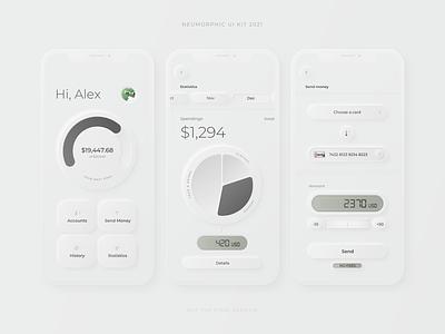 Neumorphic Mobile Banking App wheel income spendings home page statistics amount chart goal balance transaction banking money dashboard mobile minimal ux app ui skeuomorph neumorph