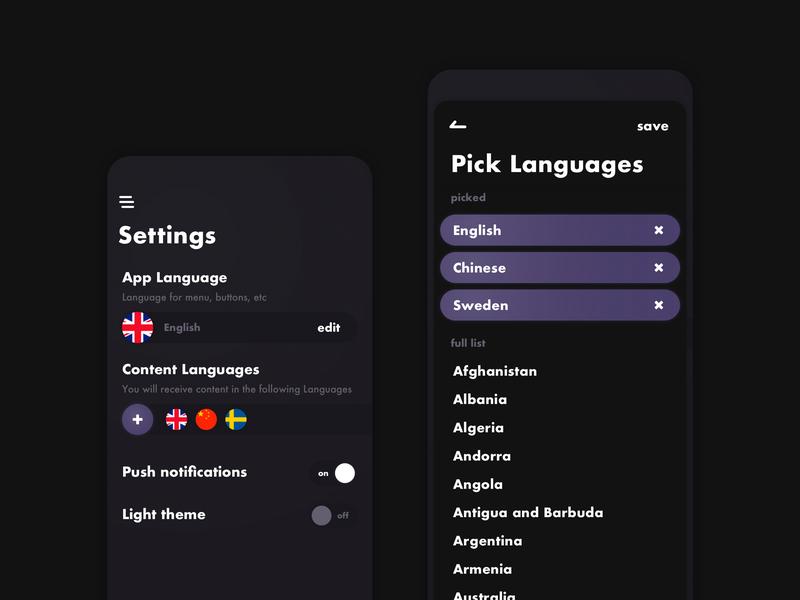 Settings Dark Theme icon app mobile dark theme ux ui minimal design
