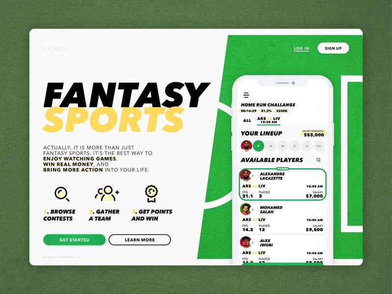 fantasy sports one page landing fantasy sports football onepage icon ui design uidesign light app ui design landing
