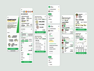 fantasy sports app football sports sport ux icon design light mobile ui ui design uidesign ui  ux uiux ui mobile app