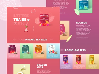 Teahuz Tea Production colorful packaging pink first screen main page web site design webdevelopment promo tea web design ux design uidesign uxdesign ux  ui ux ui  ux uiux ui webdesign website