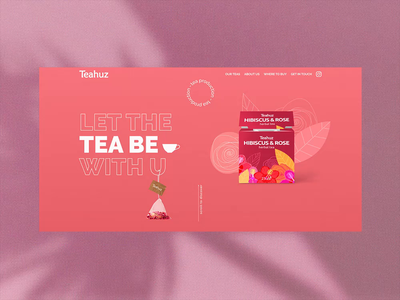 Teahuz Preloader homepage main page animation ui design web design webdesign website firstscreen lilly pink colors clean preloader counter hibiscus cup tea