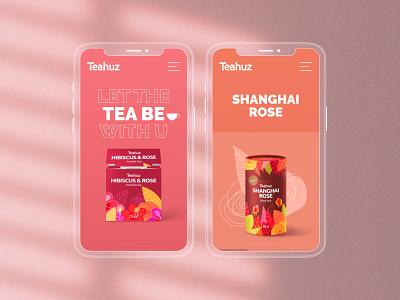 Teahuz Concept 2 first page adaptive adaptive design mobile ui ui design uidesign ui web design webdesign website pink lily cup hibiscus tea
