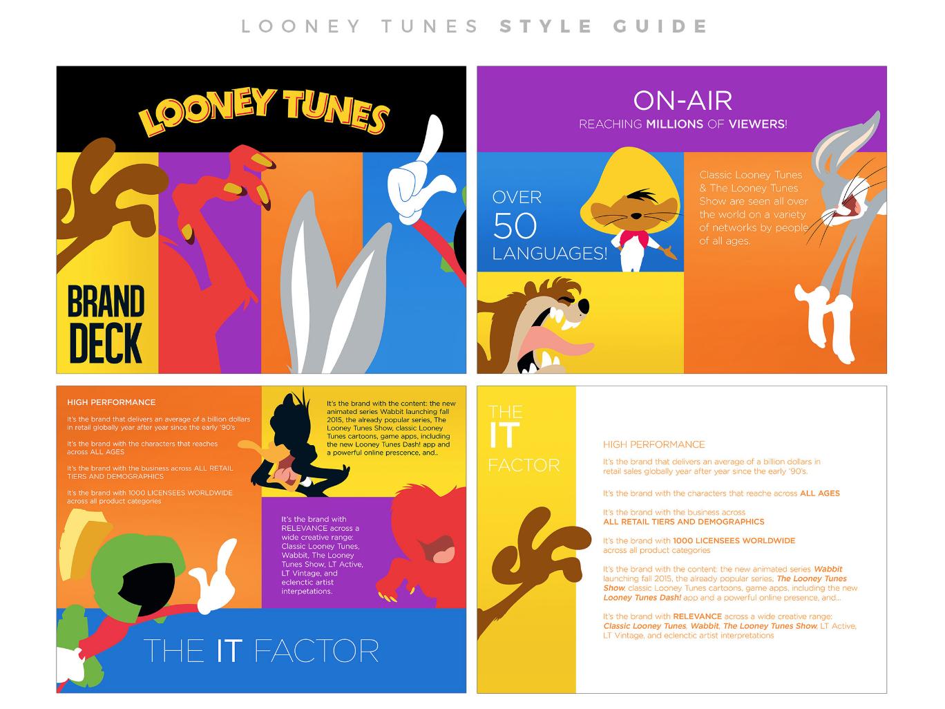 Looney Tunes Brand Deck warner bros design illustration brand direction buggs bunny cartoon style guide pitch deck looney tunes brand design