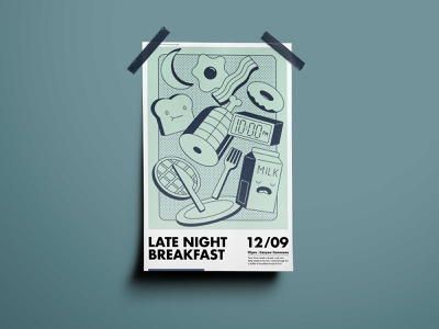 Late Night Breakfast Poster branding breakfast poster design illustration