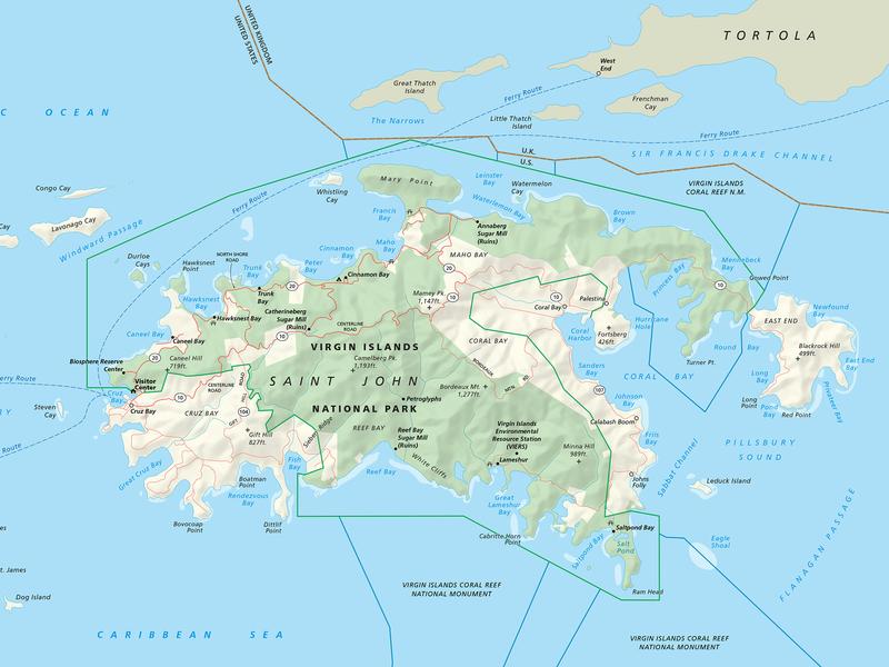 Virgin Islands NP Map cartography maps