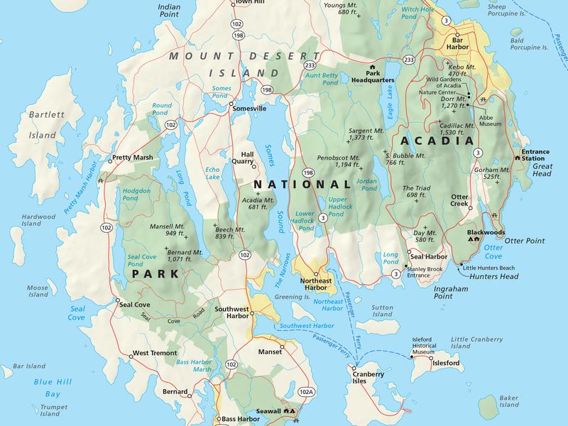 Acadia National Park Map cartography maps