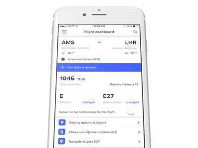 App dashboard for flight information