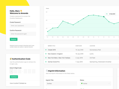 Amondo — Curation Dashboard Components dashboard form inputs analytics components