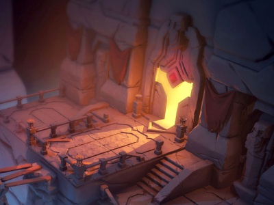 The Door illustration zbrush ruins moria level game fantasy dwarf cave door 3dsmax 3d