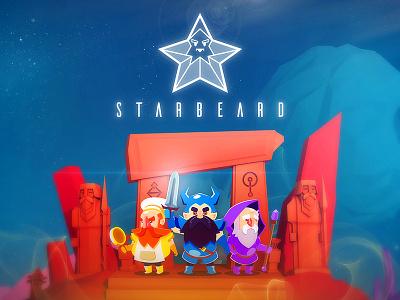 Starbeard dwarf sword character fantasy bear logo space gnomes design illustration game flat