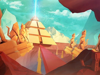Starbeard Pyramid digital game app videogames abstract 3d illustration egypt cat environment lowpoly pyramid