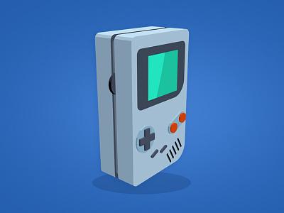 Game Boy Colour 3d art video games gameboy nintendo game boy design vector flat illustration