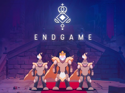 Endgame character design cartoon castle flat chess king knight icon character vector logo illustration