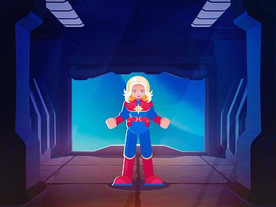 Captain Marvel character design internationalwomensday marvel captain marvel cartoon graphic design character flat art design vector illustration