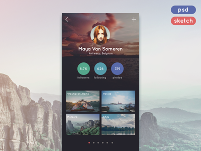 Travel App Profile (.sketch + .psd) app unsplash template travel profile freebie mobile download psd sketch
