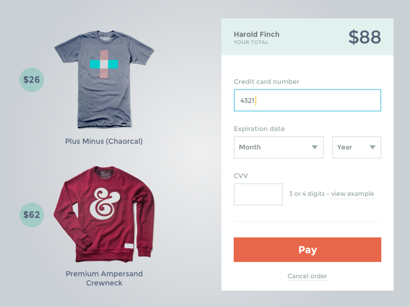 Payment form dribbble