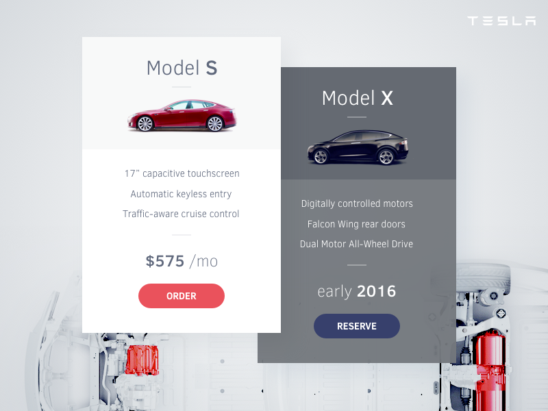 Pricing Table Tesla by Stelian Firez on Dribbble