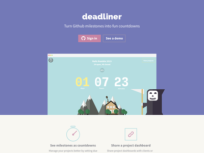 Deadliner - Rails Rumble 2015 Hackathon countdonw landing page character reaper illustration website webdesign flat github dashboard sketch cute