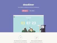 Deadliner - Rails Rumble 2015 Hackathon countdonw landing page character reaper illustration website webdesign flat github dashboard sketch cute