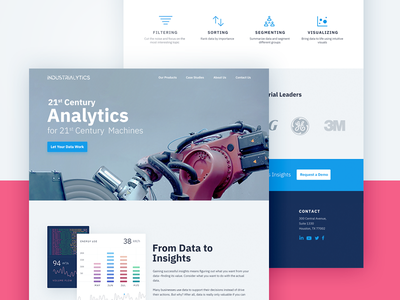 Industrial Analytics Website website ui sketch responsive photoshop one page landing page homepage design dashboard creative bootstrap