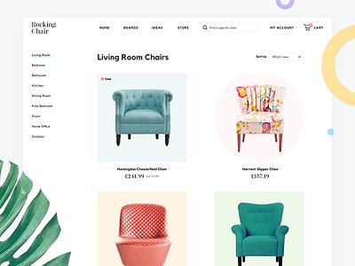 Chair Store Website interior store ecommerce flat webdesign mininalist furniture shop