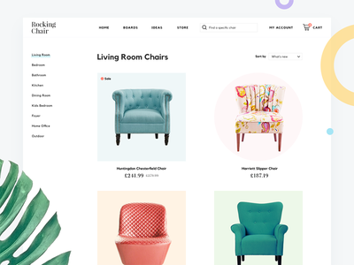 Chair Store Website interior store ecommerce flat webdesign mininalist furniture shop