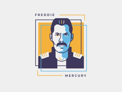 FREDDIE freelance legend musician vector vector art flat illustration flatdesign queen freddie mercury