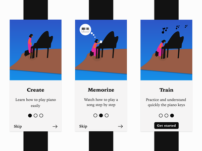 Onboarding - Mobile app blue black mobile app piano onboarding daily ui