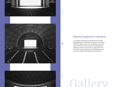 Photo gallery - Hiroshi Sugimoto's theaters interface design typo carousel photography