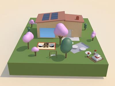 3D House - Backyard c4d backyard house 3d