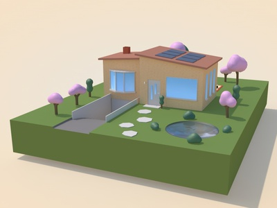 3D House - Front courtyard isometric c4d courtyard house 3d