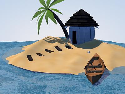 3D Island island rowboat palm tree hut c4d 3d
