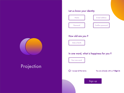Daily UI : Sign up daily ui orange purple sign in form sign up ui