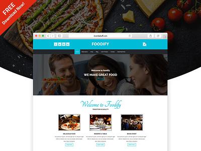 Foodify Joomla ecommerce template for Restaurant freebie uidesign foodie restaurant web business joomlabuff joomla template ecommerce joomla webdesign
