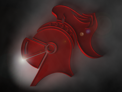 Knight Motion Mockup knight red logo 3d render fog